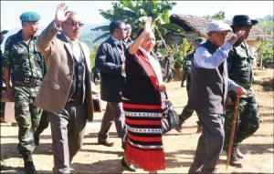 President, GPRN/NSCN, Gen. (Retd) Khole Konyak (R), President, Naga Mothers Association, Abeiu Meru (C) and Ato Kilonser, N Kitovi Zhimomi (L) are seen arriving to attend the 6th anniversary of 'Naga Unification' which was held at the GPRN/NSCN designated Khehoi Camp, some 25 km from Dimapur on November 22. Photo by Caisii Mao