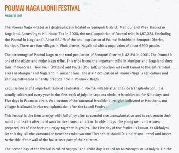 Poumai Naga Festival original manuscripts